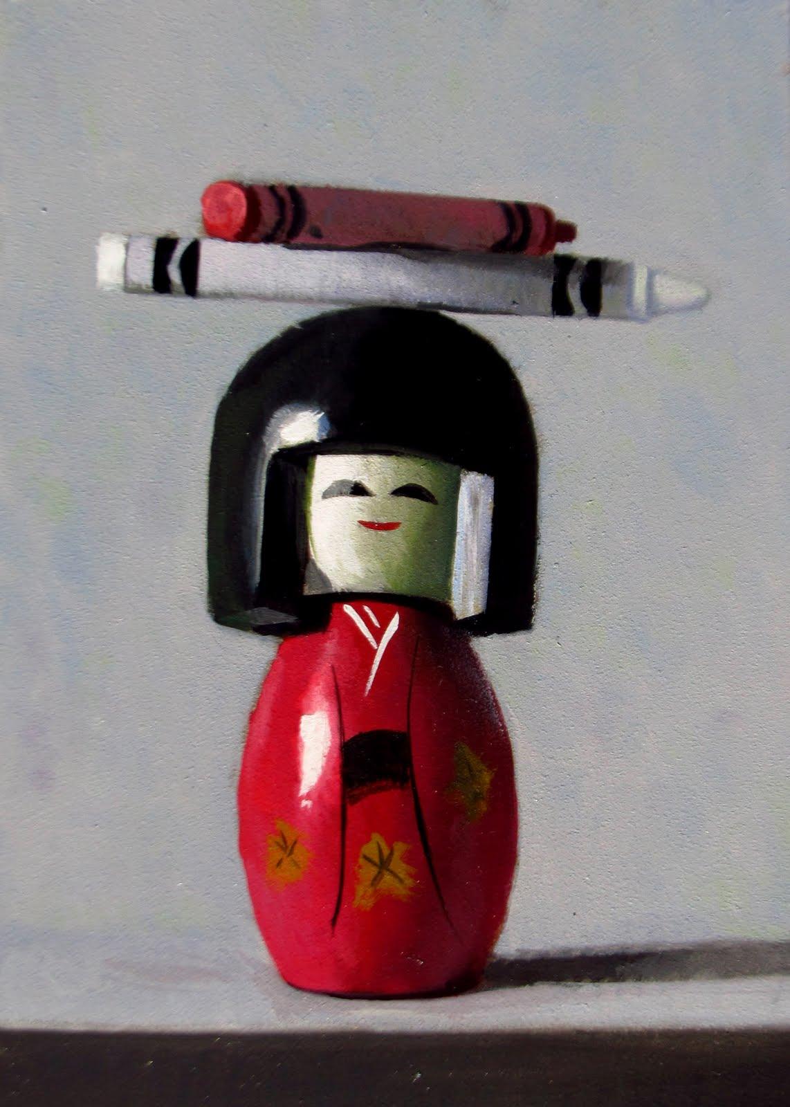 """DAILY DIAPER #234 Asian Balance"" original fine art by Brian Burt"