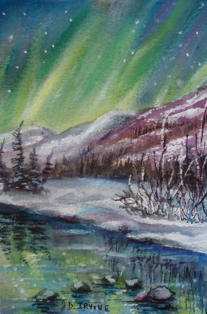 """Northern Lights Study 3"" original fine art by Jackie Irvine"