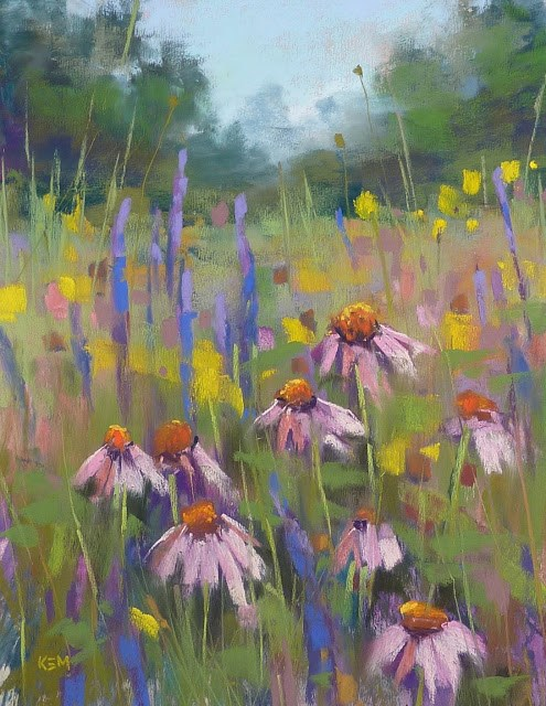"""Pastel Demo ... Painting a Tangle of Wildflowers"" original fine art by Karen Margulis"