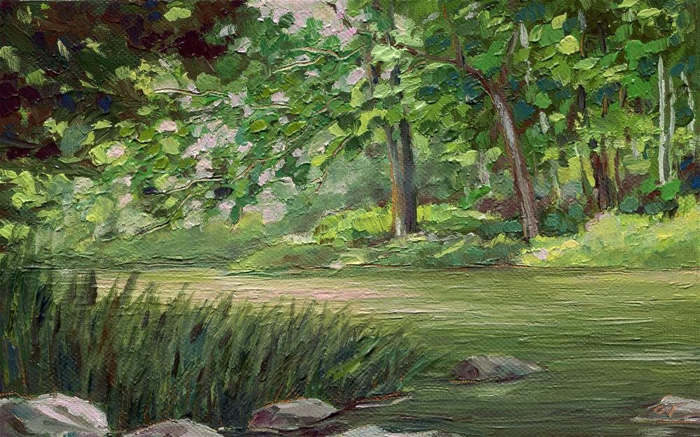 """Lost in greens"" original fine art by Olga Touboltseva-Lefort"