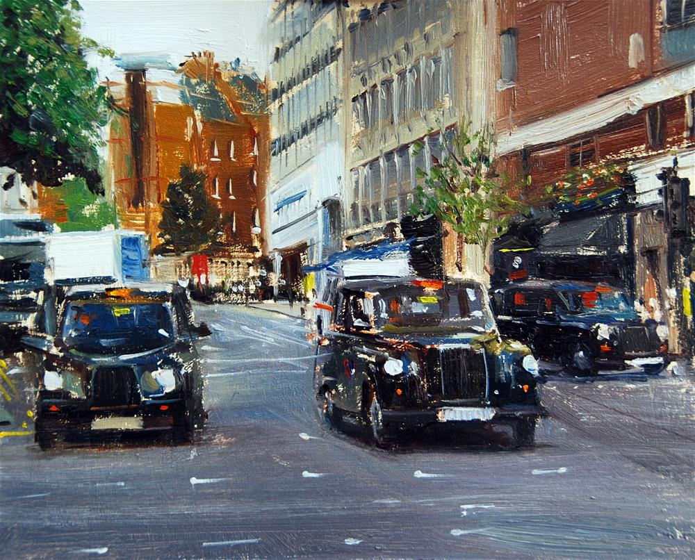 """3 Black Cabs, Upper Martins Lane"" original fine art by Adebanji Alade"