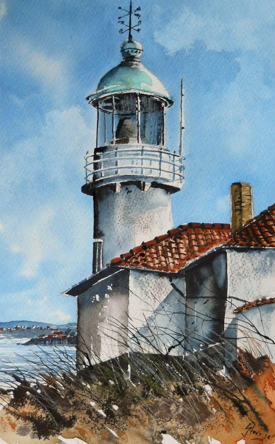 """The Lighthouse on St.John's Island"" original fine art by Martin Stephenson"