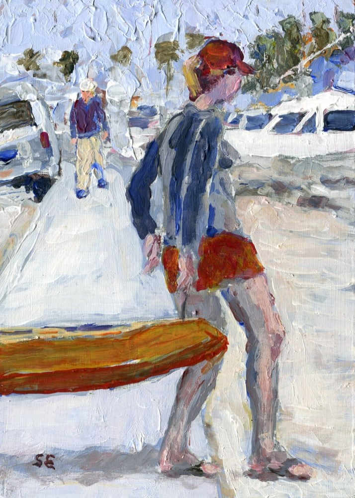 """Walking The Kayak"" original fine art by Stanley Epperson"