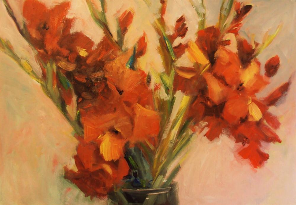 """hot flowers"" original fine art by Parastoo Ganjei"