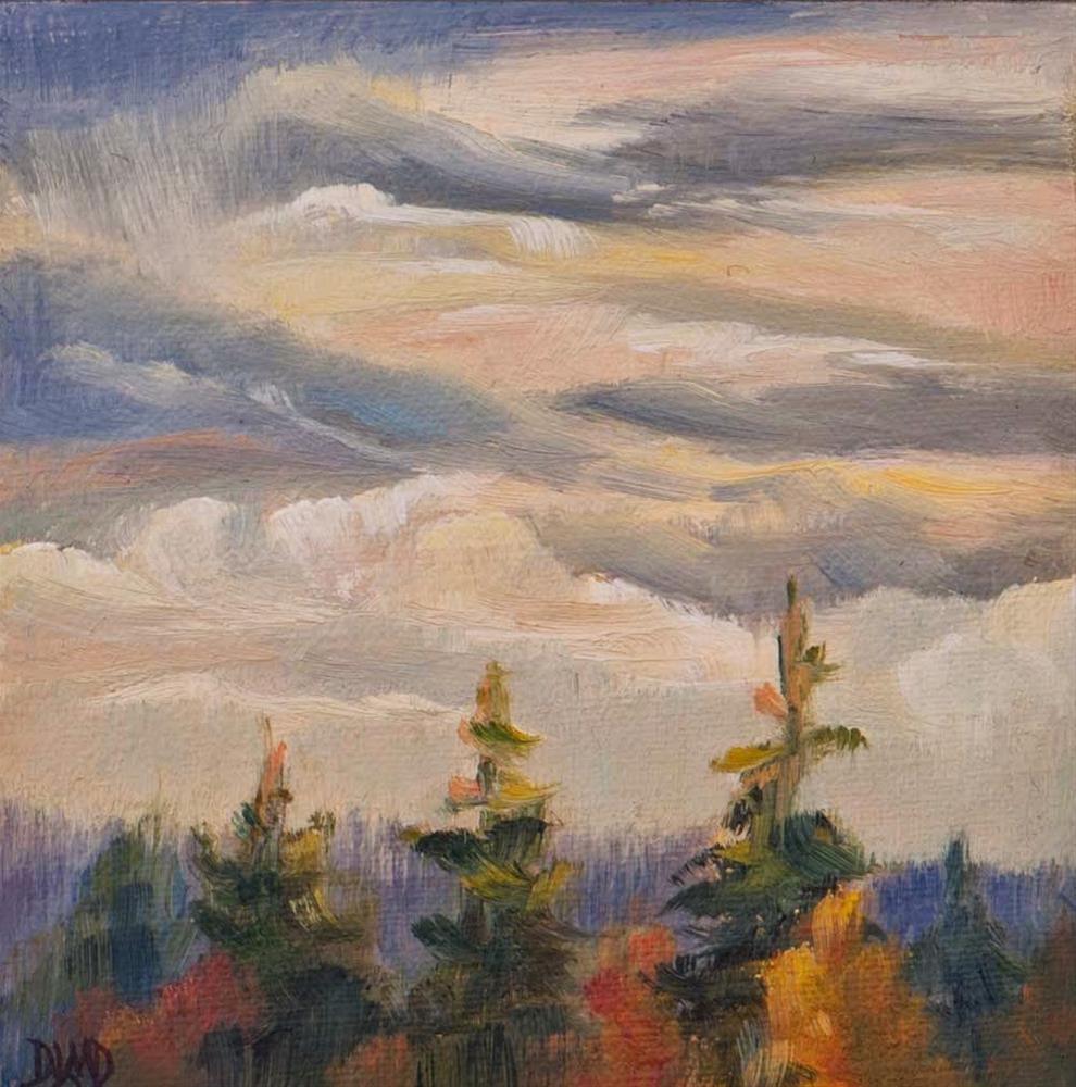 """November Skies & Gift Giving"" original fine art by Debbie Lamey-Macdonald"