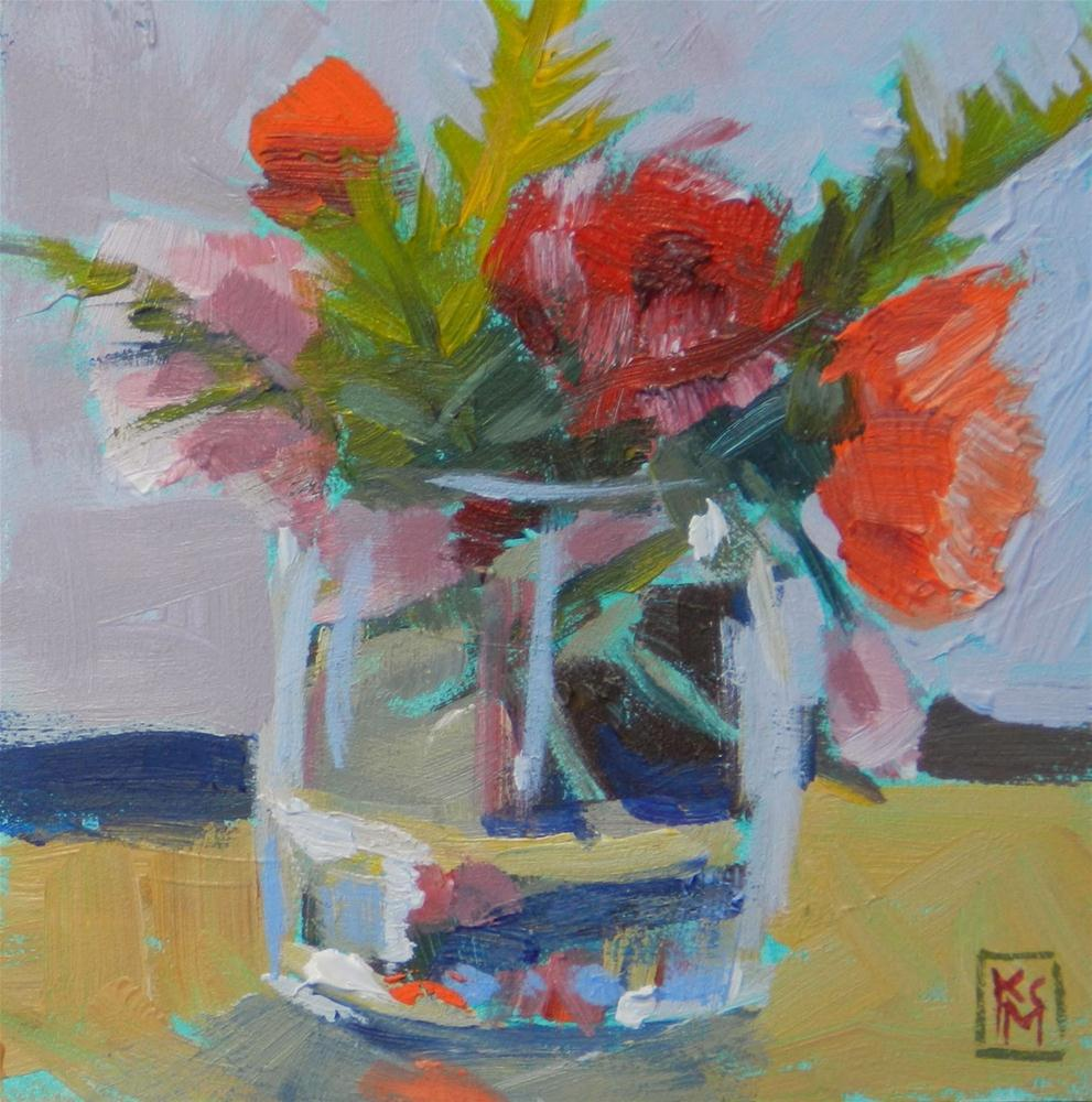 """Summers' Last Roses, 4x4 Inches, Original Acrylic painting by Kelley MacDonald"" original fine art by Kelley MacDonald"