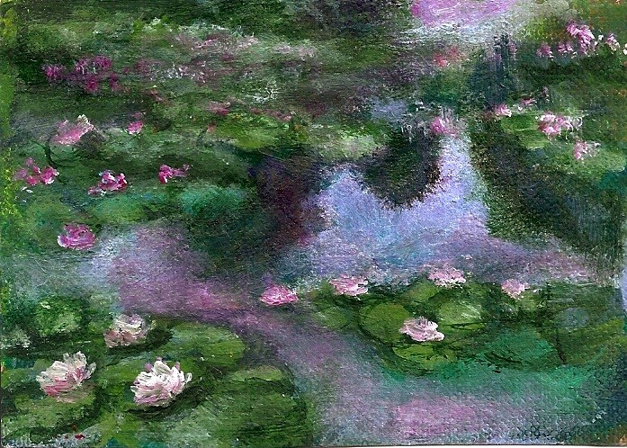 """ACEO Waterlilies in the style of Monet Acrylic Miniature by Penny Lee StewArt"" original fine art by Penny Lee StewArt"