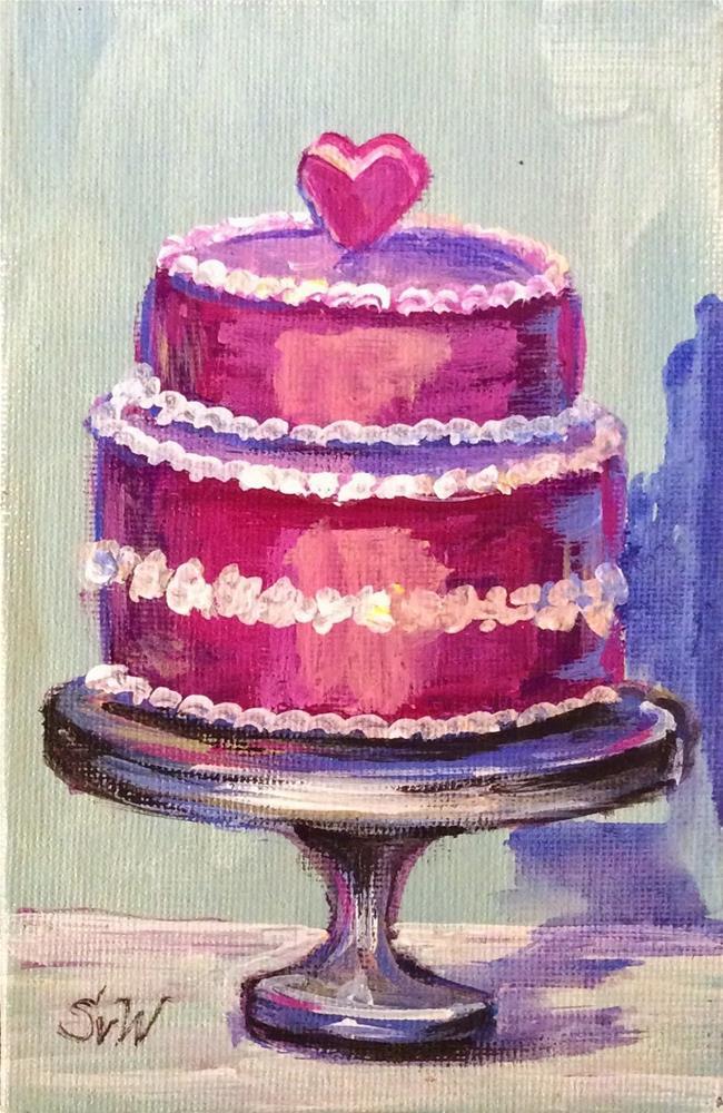 """""""Wedding pink cake painting"""" original fine art by Sonia von Walter"""