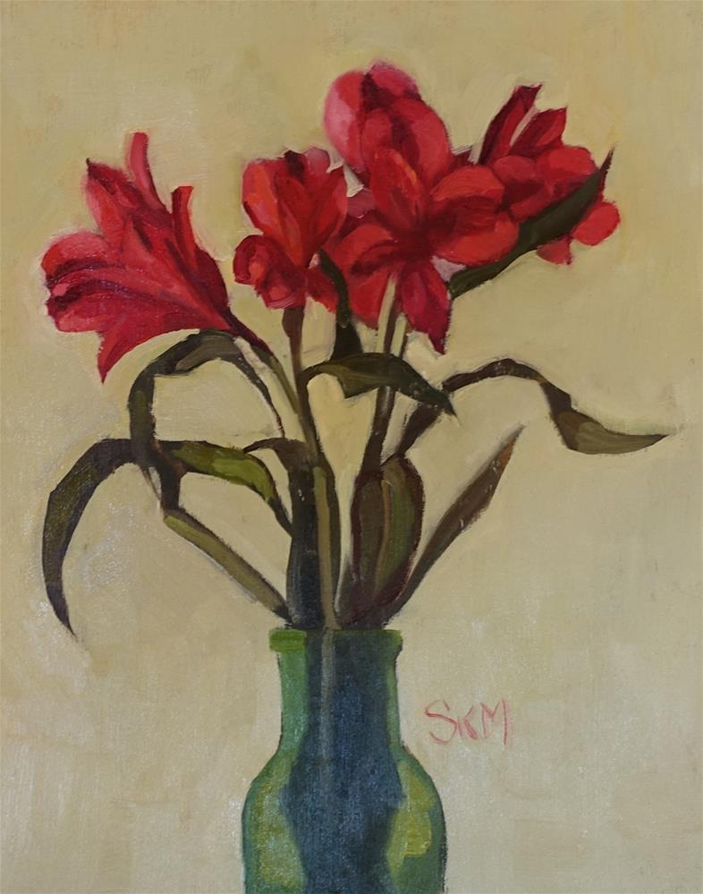 """""""morning flowers on plywood"""" original fine art by Sarah Meredith"""