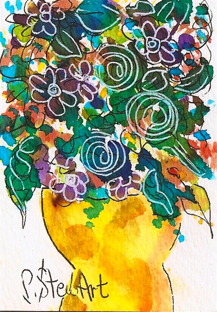 """ACEO Folk Art Floral Bouquet in Yellow Vase, Original, Watercolor and Pen"" original fine art by Penny Lee StewArt"