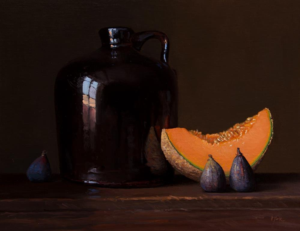"""Still life with Jug, Cantaloupe, and Figs (the light, the shade)"" original fine art by Abbey Ryan"