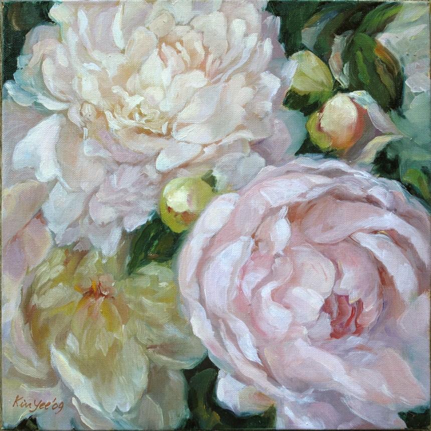 """""""Peonies pink"""" original fine art by Myriam Kin-Yee"""