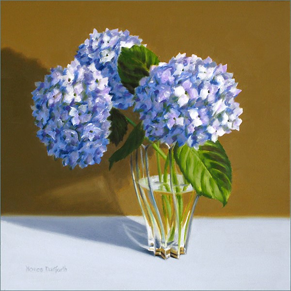 """Violet Hydrangeas in Vase"" original fine art by Nance Danforth"