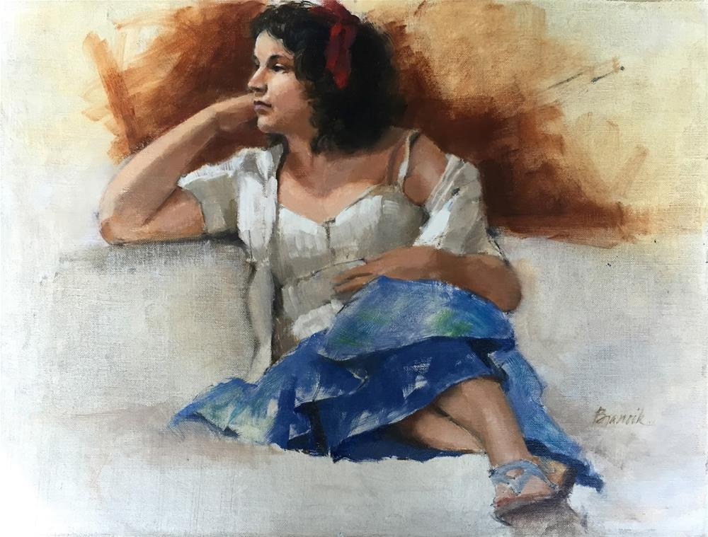 """Girl in Red, White & Blue"" original fine art by Candace Brancik"