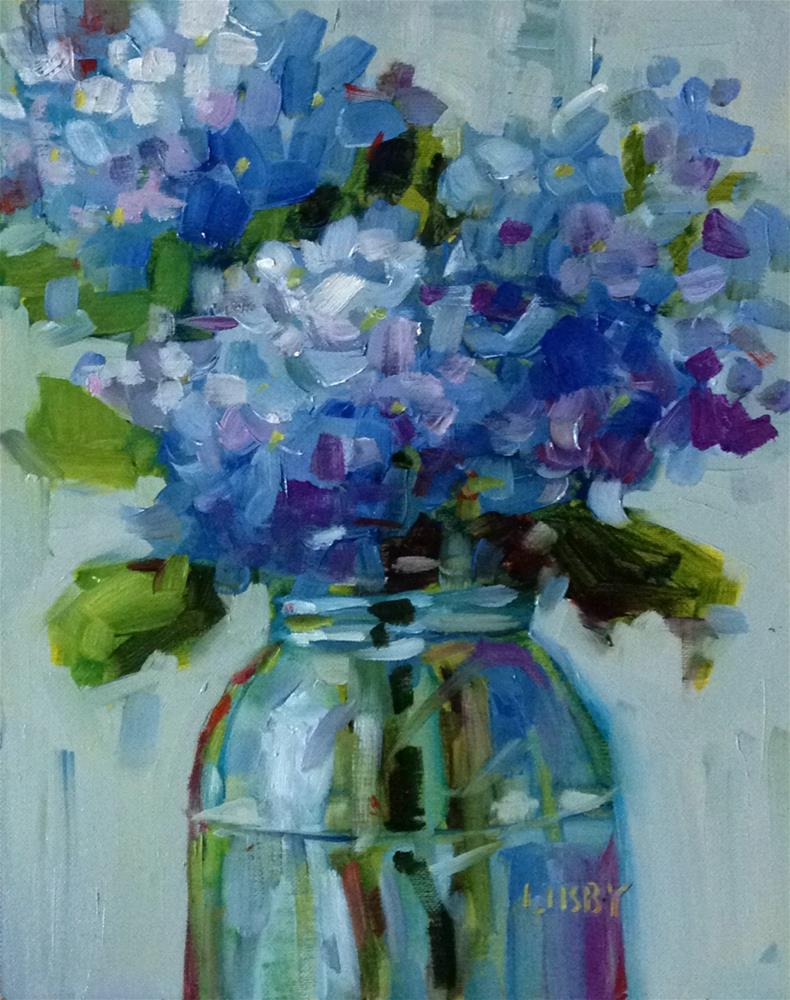 """Party of Blue"" original fine art by Libby Anderson"