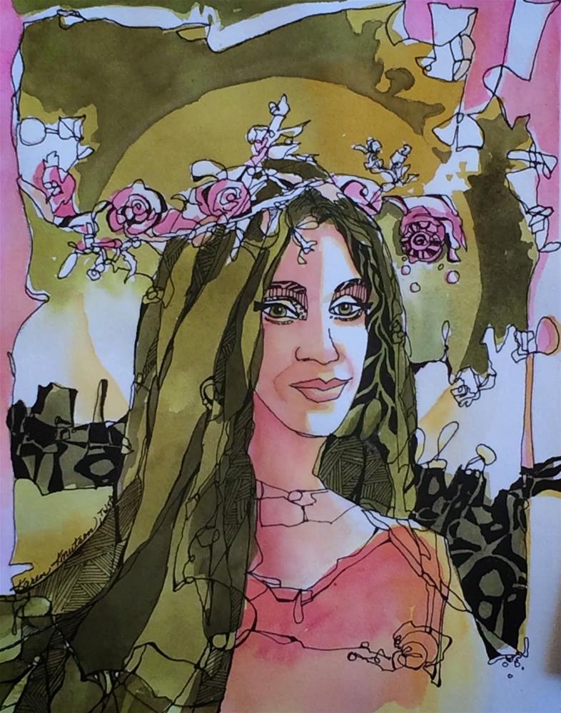 """""""Flower Child"""" original fine art by Karen Knutson"""