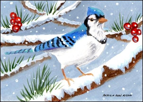"""""""Perky Bluejay"""" original fine art by Patricia Ann Rizzo"""