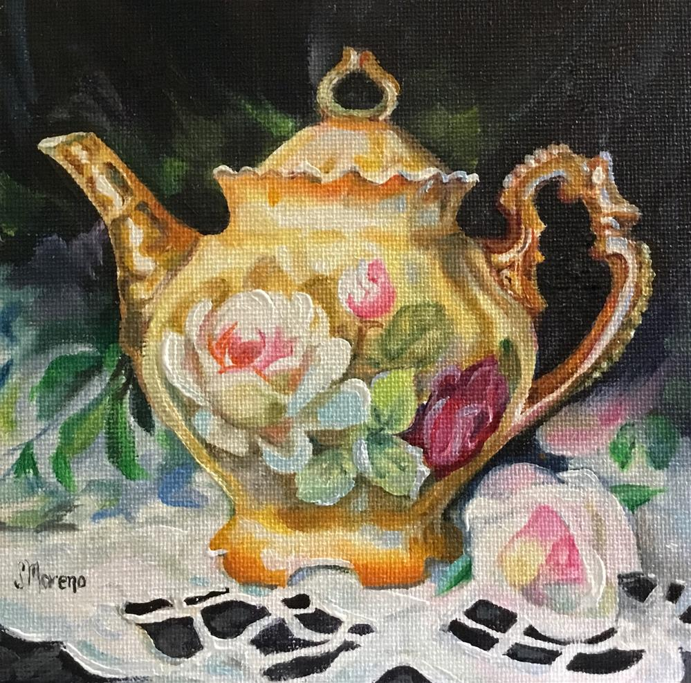 """Flowered Teapot"" original fine art by Susan McConnell Moreno"