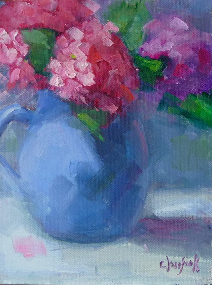 """Pink Hydrangeas"" original fine art by Carol Josefiak"