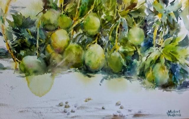 """A mango farm in Al Ain, UAE"" original fine art by Midori Yoshino"