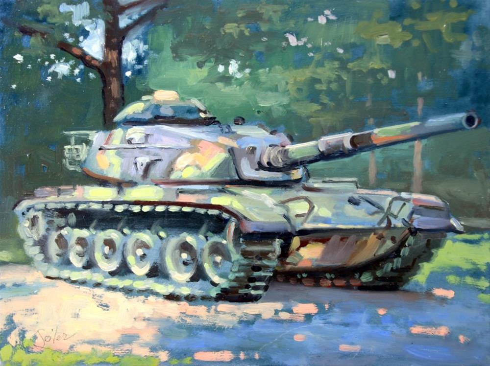 """""""M60 Desert Storm Tank"""" original fine art by Larry Seiler"""