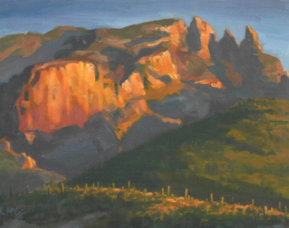 """Warmly Lit Hillside"" original fine art by K.R. McCain"
