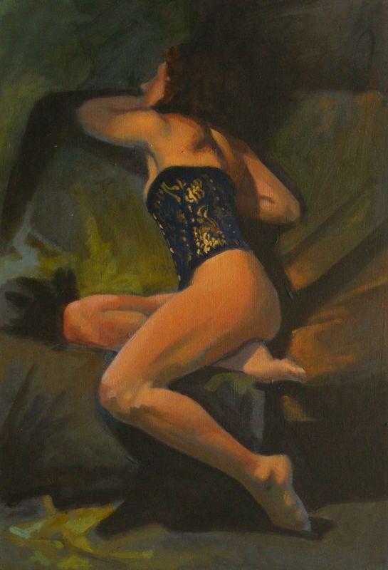 """Dark blue corset"" original fine art by Peter Orrock"