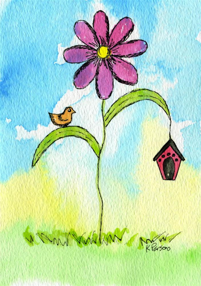 """""""A Bird, a Birdhouse, and a Flower"""" original fine art by Kali Parsons"""
