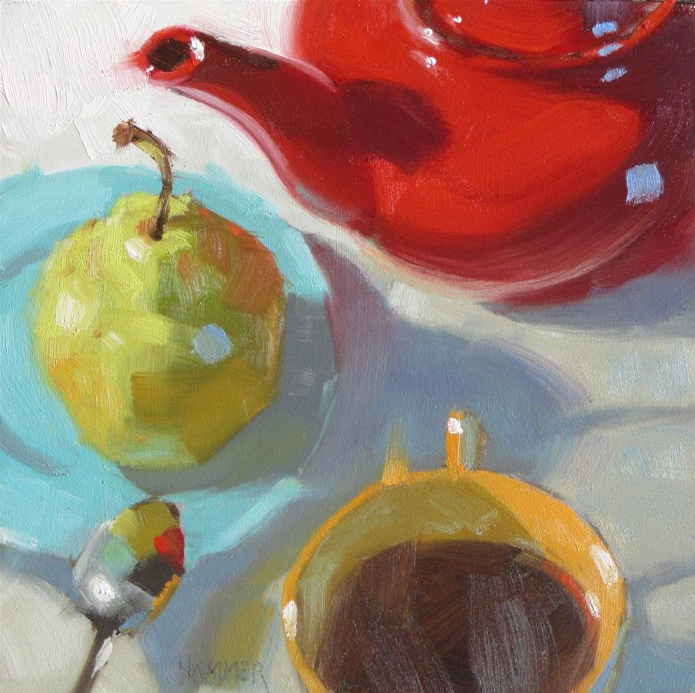 """""""The Teapot and her friends 6 x 6  oil"""" original fine art by Claudia Hammer"""