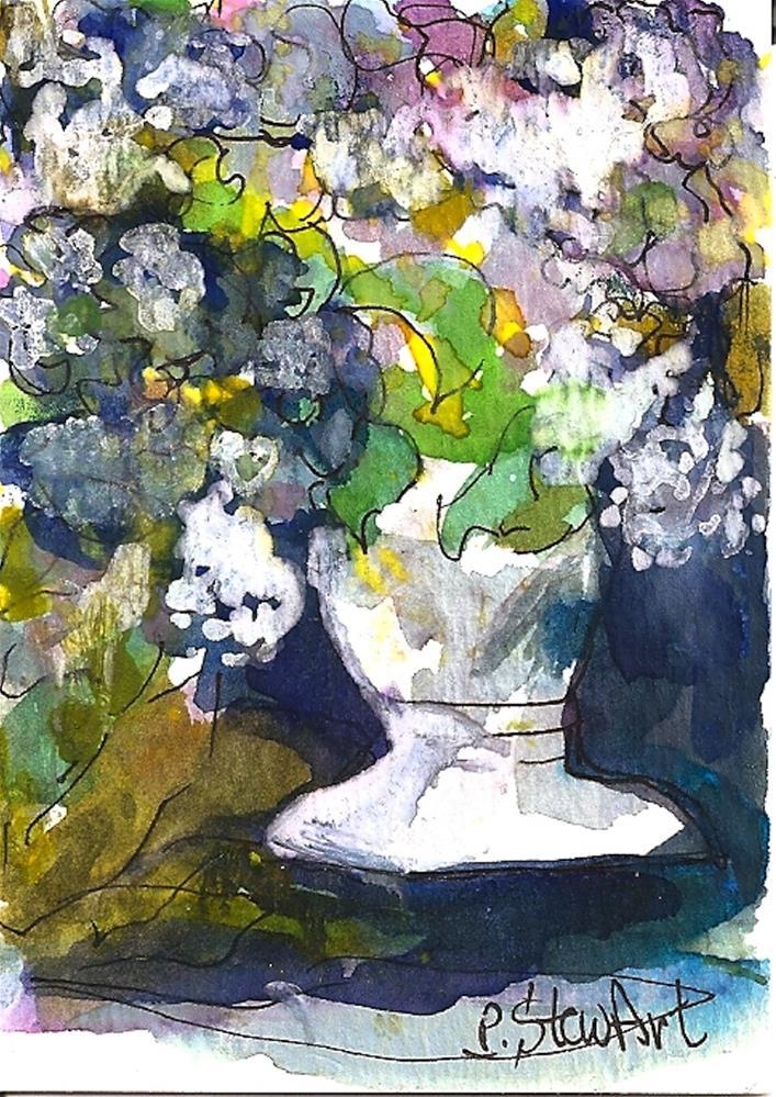 """""""ACEO Hydrangeas in a White Pot, Original WC & Pen Illustration by P StewArt"""" original fine art by Penny Lee StewArt"""