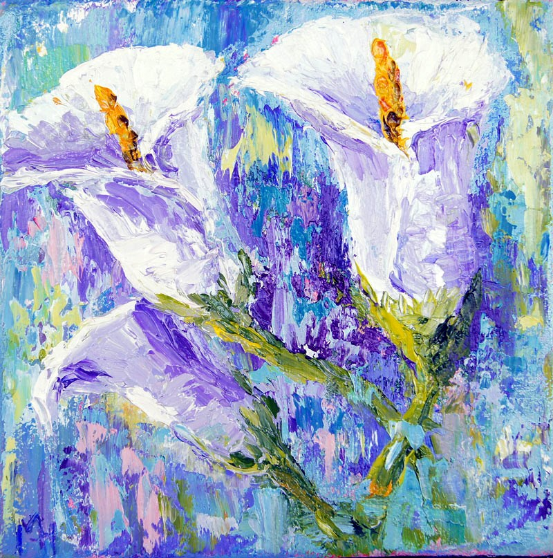"""White Calla Lilies"" original fine art by Marion Hedger"