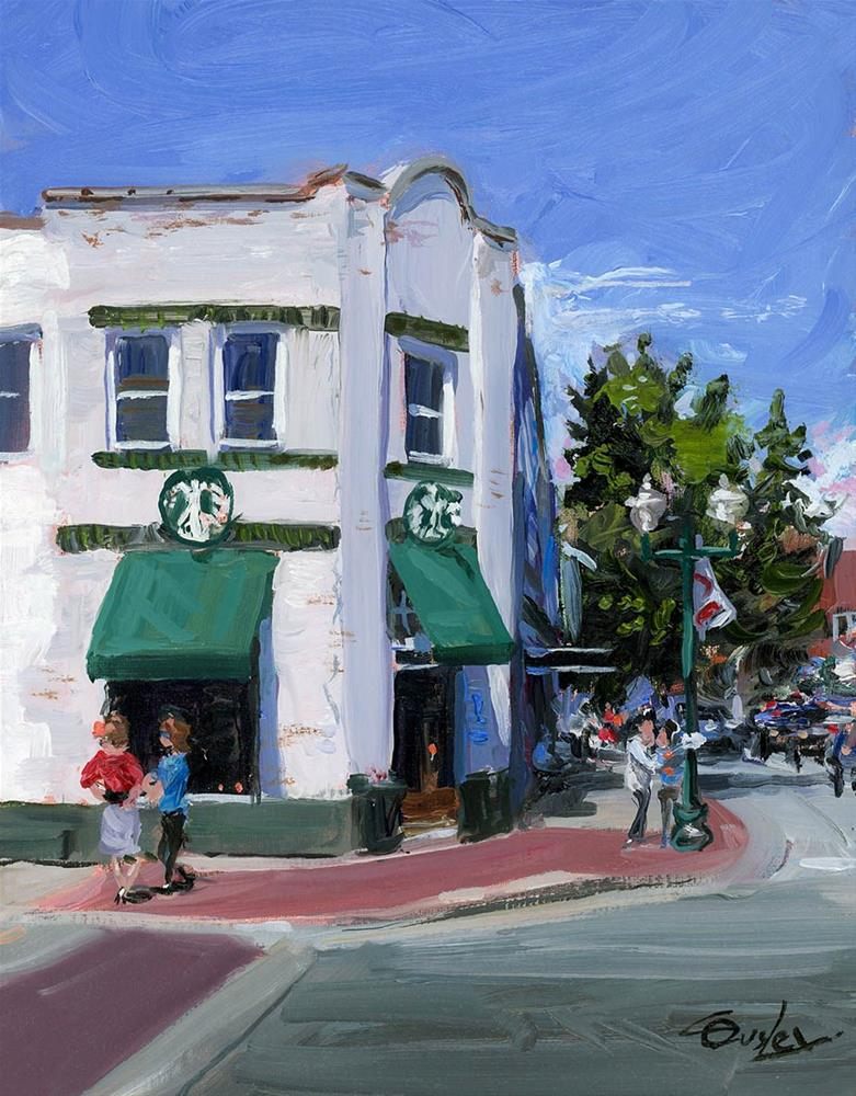 """Starbucks At 5 Points in Franklin TN"" original fine art by Chris Ousley"