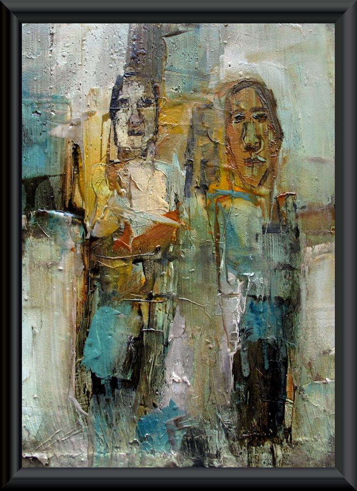 """THE DUET Original ABSTRACT FIGURE PORTAIT 5X7 Art Painting OIL"" original fine art by Colette Davis"