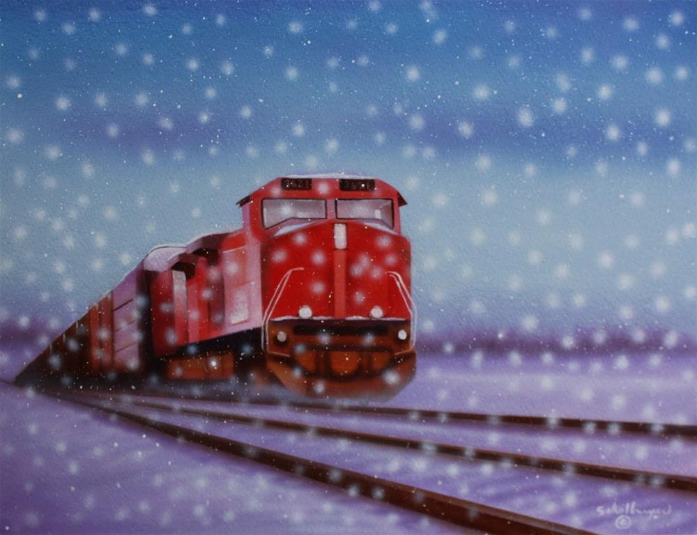 """Snow Train"" original fine art by Fred Schollmeyer"