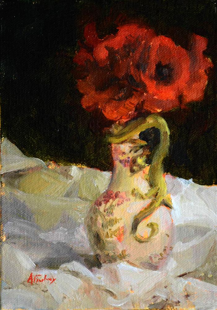 """Poppies & Dragon Vase"" original fine art by alicia tredway"