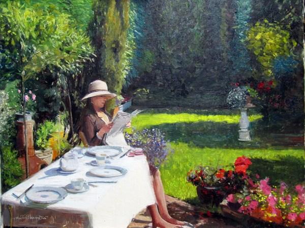 """Summer in the Garden"" original fine art by Adebanji Alade"