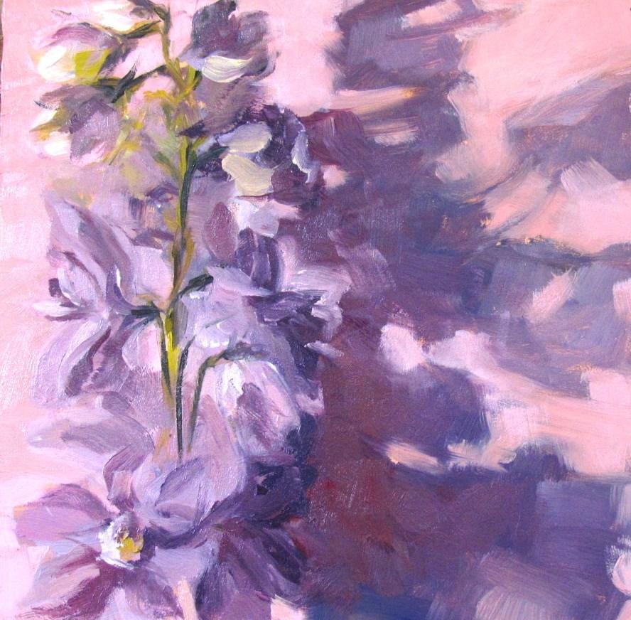 """Lavender Delphinium, framed"" original fine art by Lynne Schulte"