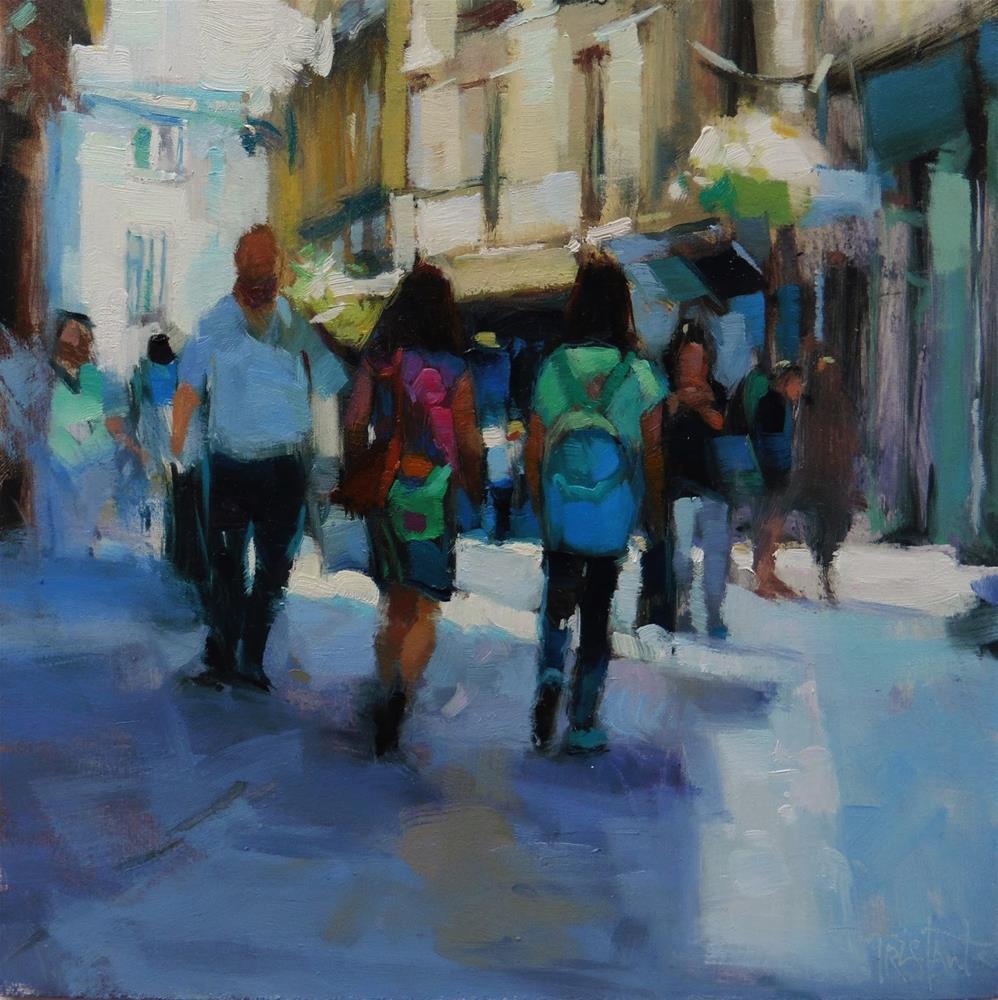"""""""Pedestrians in the shadow"""" original fine art by Víctor Tristante"""