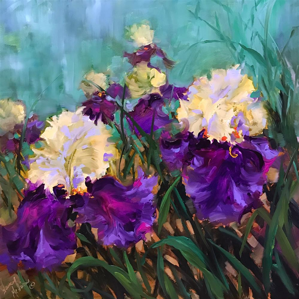 """Jungle Love Iris Garden"" original fine art by Nancy Medina"