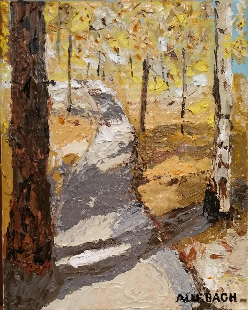 """Knife painting woods"" original fine art by Jo Allebach"