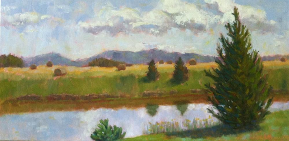 """""""Hay Bales and Blue Mountains"""" original fine art by Katharine March"""