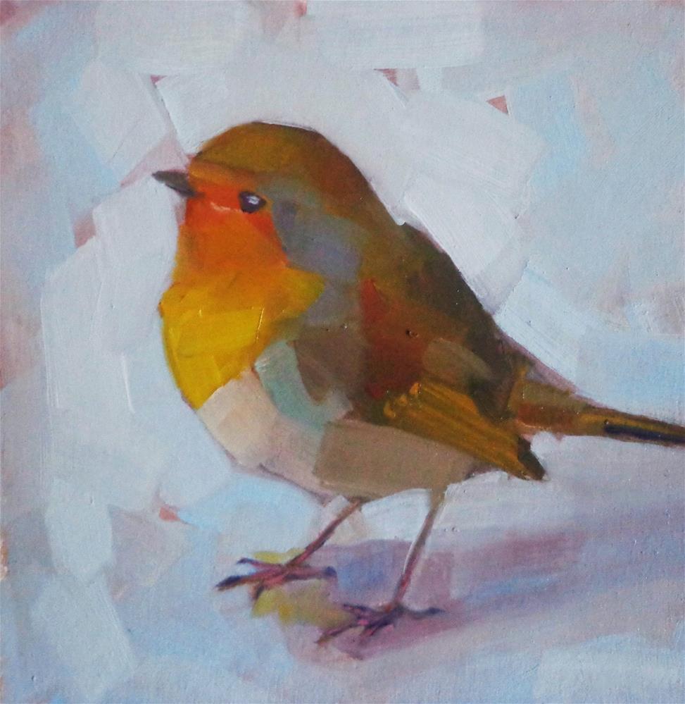 """""""Robin bird on the ground"""" original fine art by Maria Z."""