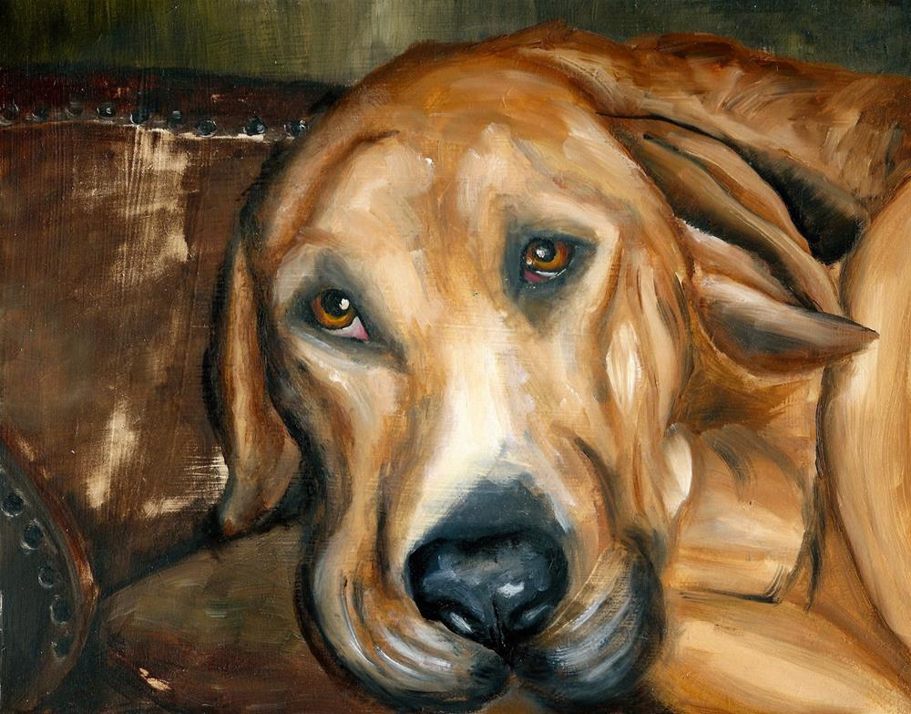 """Hound on the Chesterfield"" original fine art by Karen Robinson"