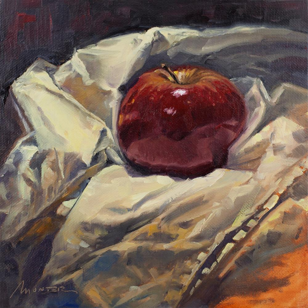 """Red Apple and Fabric"" original fine art by Thierry Monter"