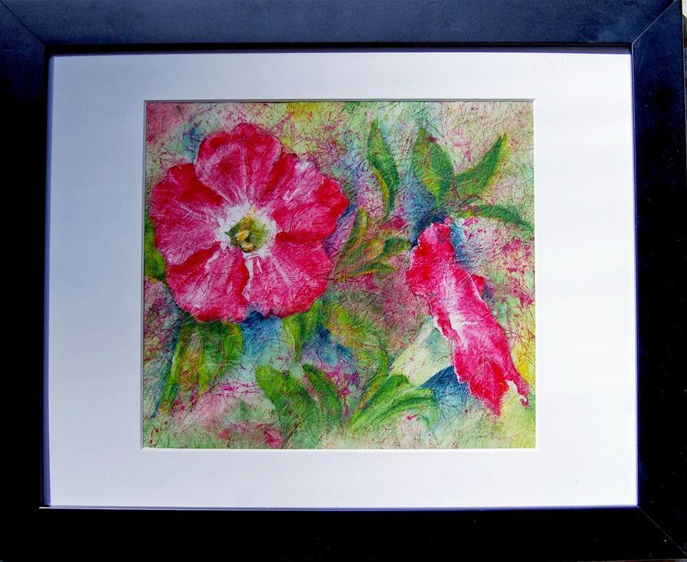 """Splash of Petunias Light"" original fine art by Maureen Baker"