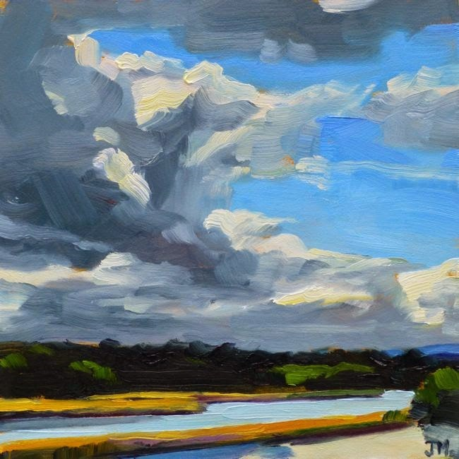 """Clouds over Croton River"" original fine art by Jessica Miller"