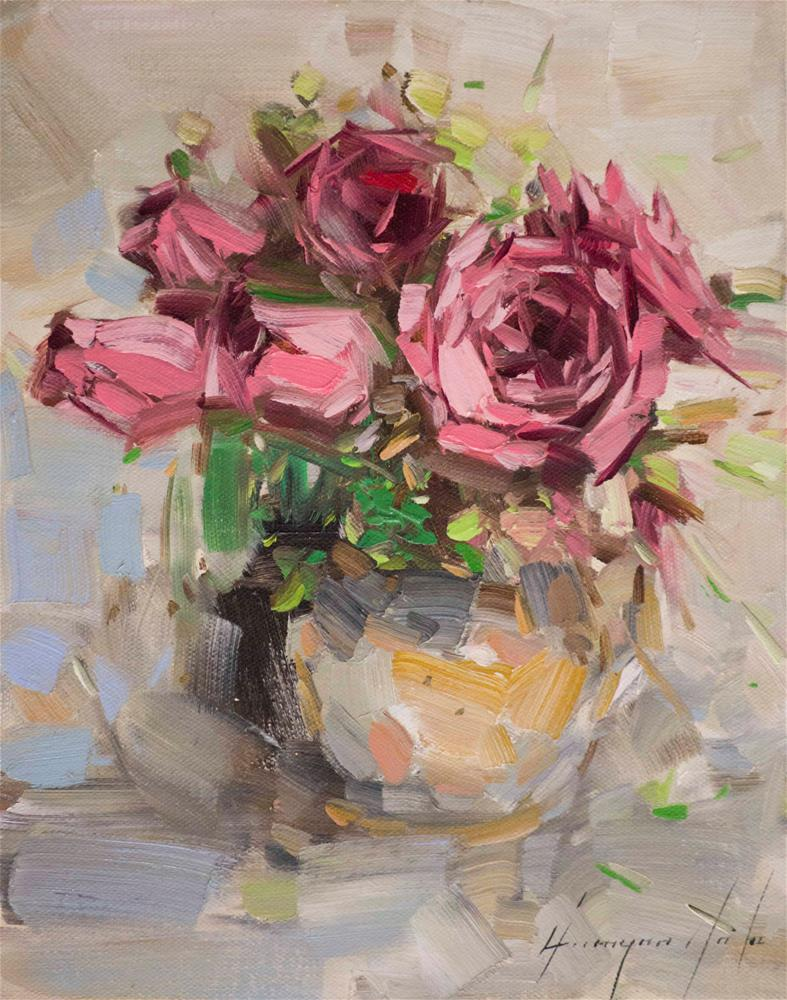 """Vase of Roses Oil painting on Canvas"" original fine art by V Yeremyan"
