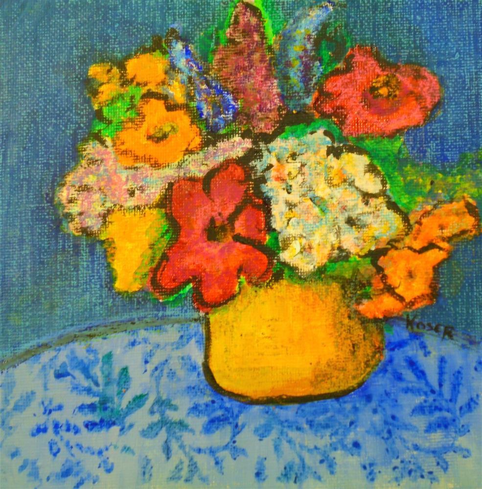 """Primitive Floral"" original fine art by Mary Ellen Koser"