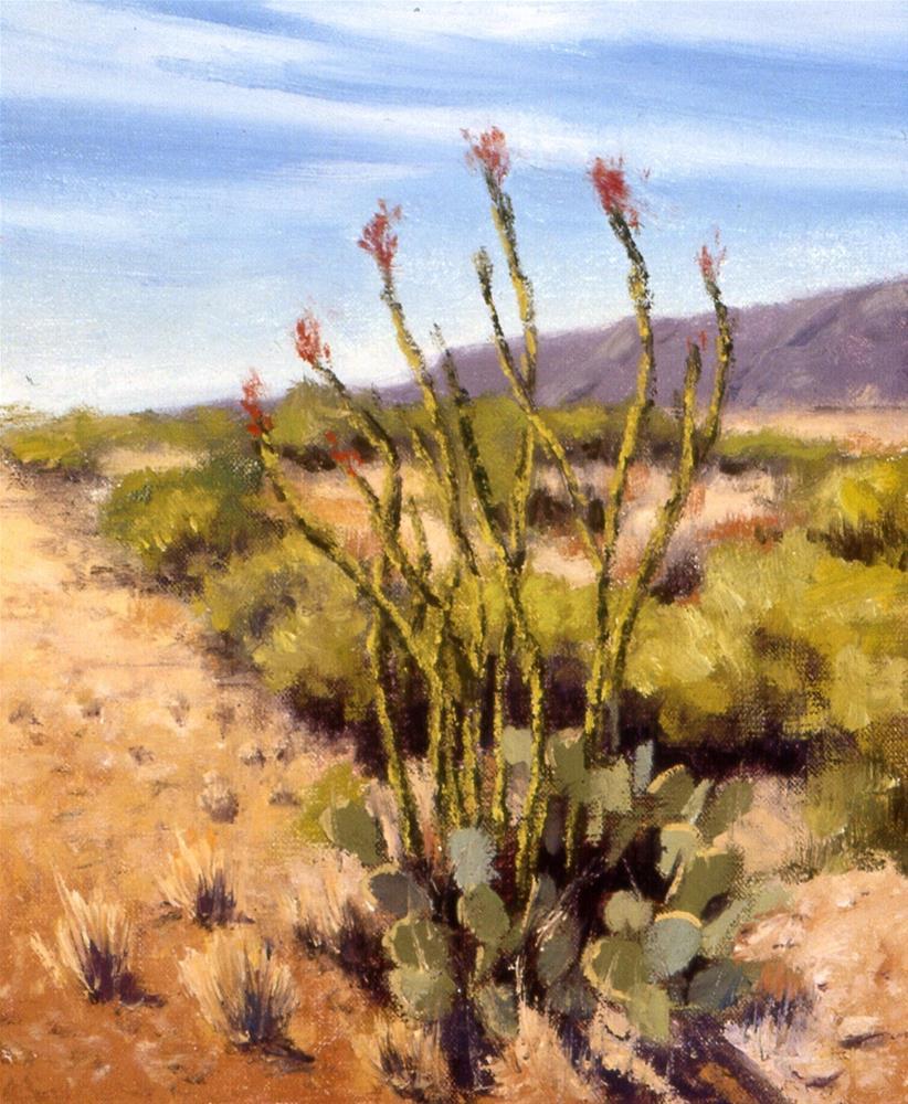 """Ocotillo in Bloom"" original fine art by Janet Broussard"