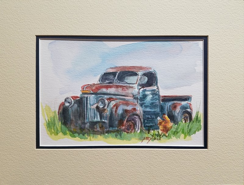 """An Old Truck And A Chicken"" original fine art by Gabriella DeLamater"